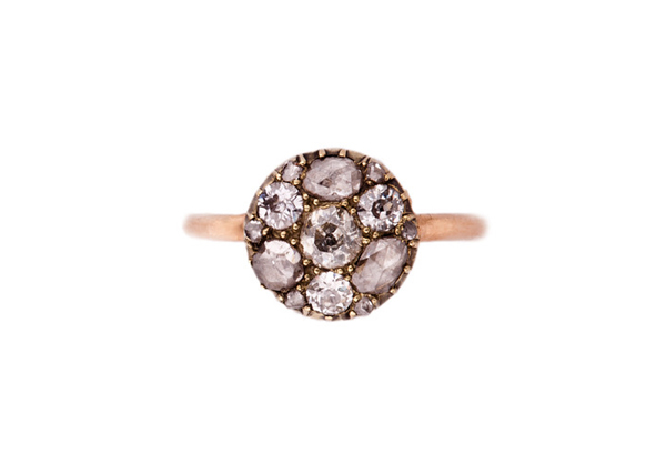 annina vogal rose cut and old cut diamond ring