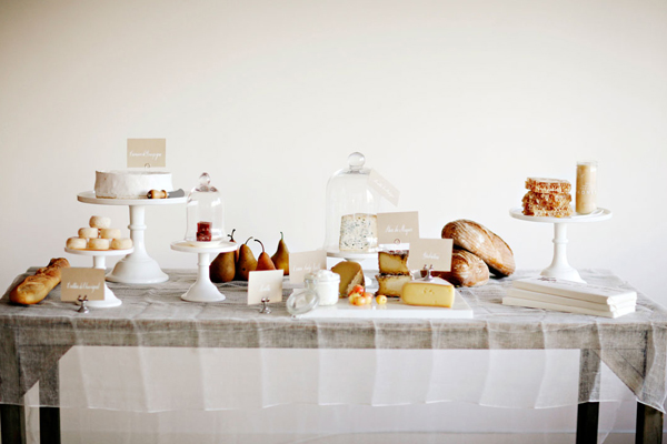 wedding table ideas, wedding reception ideas, bell jars, cloches, bread and cheese