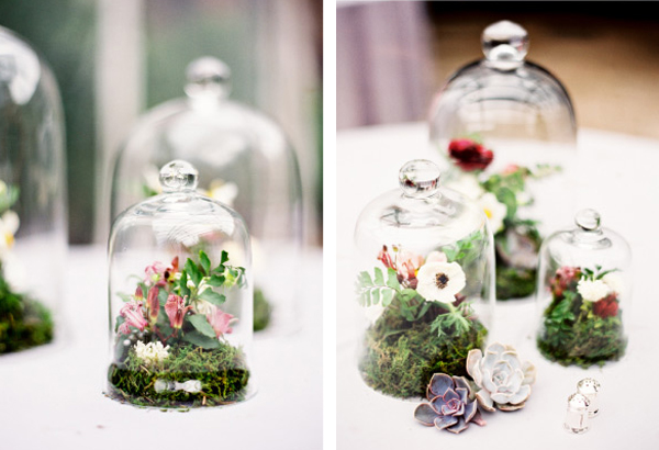 wedding table ideas, wedding reception ideas, bell jars, cloches, flowers