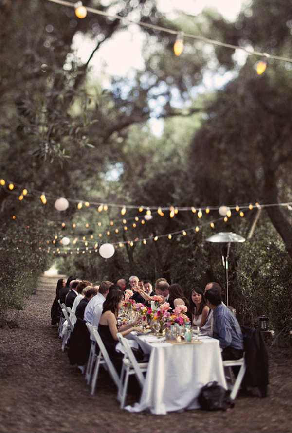 Wedding reception ideas - intimate outdoor wedding in an olive grove