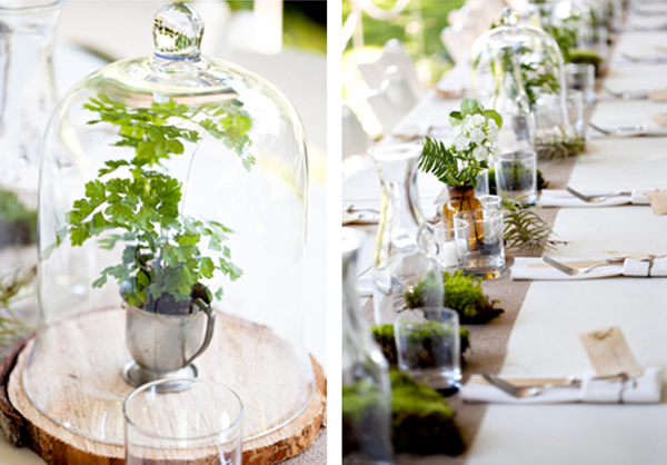 wedding table ideas, wedding reception ideas, bell jars, cloches, plants