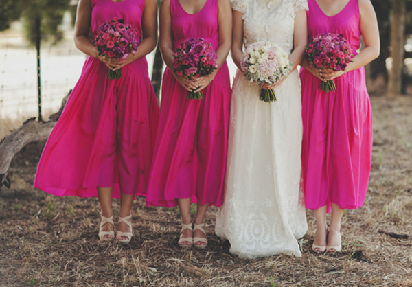 bright pink bridesmaids dresses beauitful! and stunning wedding dress_feat