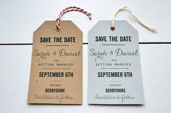 Vintage Tag Save The Date Lucy Says I Do - Luggage tag save the date template