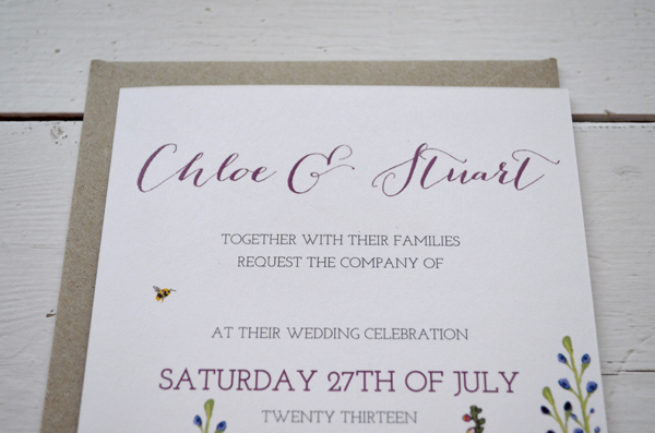 Bespoke Wedding Invitations And Stationery Custom Design Hand Drawn Map Flowers Delphiniums Lake District RSVP Tags