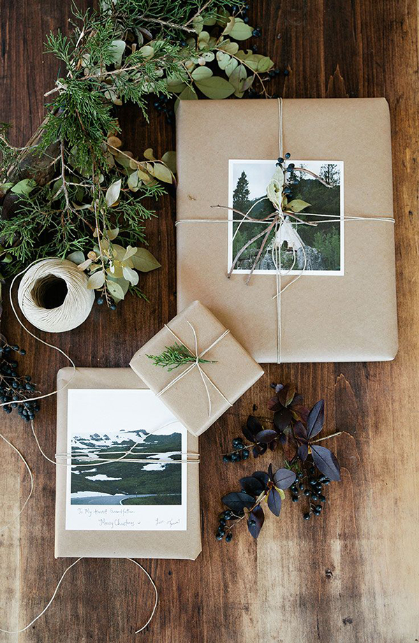 brown paper packages tied up with string and photos christmas present wrapping ideas