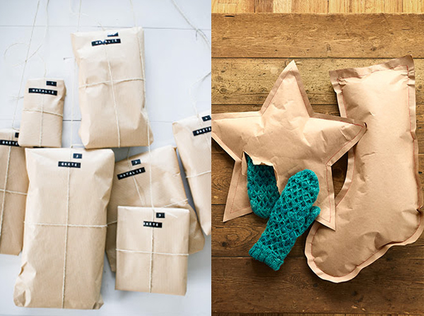 brown paper packages tied up with string christmas present star and stocking shape wrapping ideas
