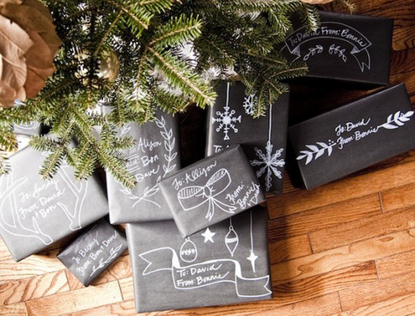 christmas chalkboard packaging christmas wrapping ideas