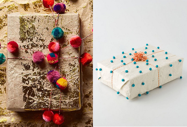 gold foil and pom poms christmas wrapping ideas
