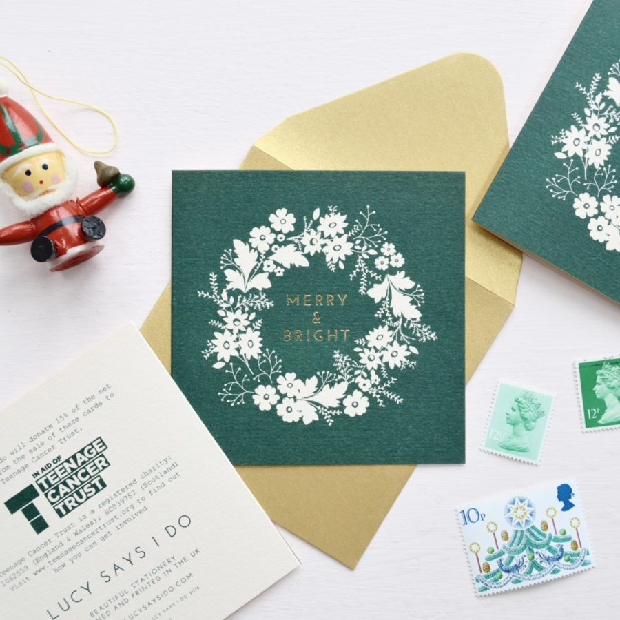 Pack of 6 Charity Christmas Cards Pink and Forest Green | Lucy ...