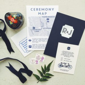 Ruth and Joe London wedding stationery Navy with white matt foiling and custom map