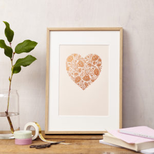 Lucy says I do art print floral heart copper foil on blush card framed