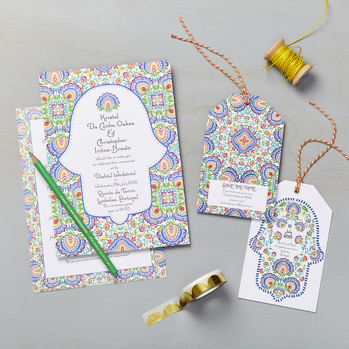 Lucy says I do bespoke wedding invitation design destination wedding portuguese folk art pattern