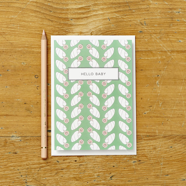 Lucy says I do greetings cards_hello baby green