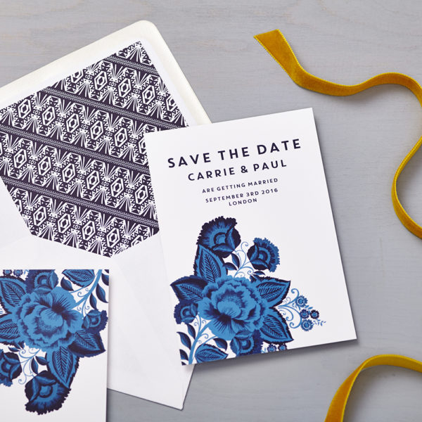 Lucy says I do save the date_floral folk blue