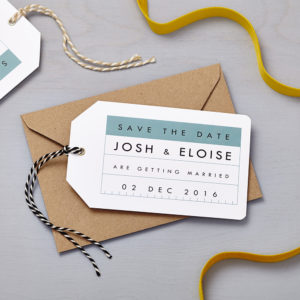 Lucy says I do save the date_retro school blue tag