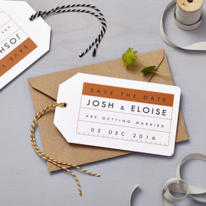 Lucy says I do save the date_retro school burnt orange tag