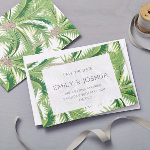 Lucy says I do tropical wedding stationery