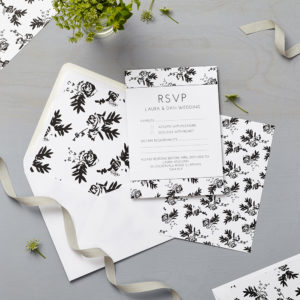 Lucy says I do wedding RSVP flower shadows