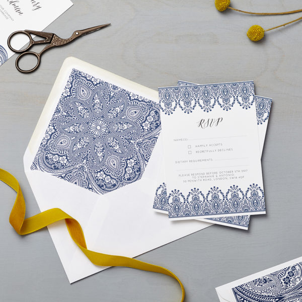 Lucy says I do wedding RSVP indian summer indigo