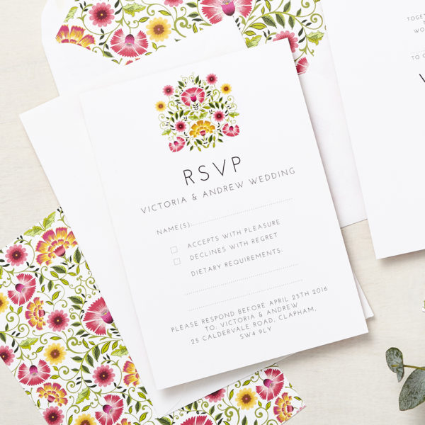 Lucy says I do wedding RSVP love amongst the flower signature