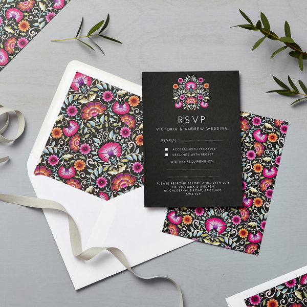 Lucy says I do wedding RSVP love amongst the flower sunset
