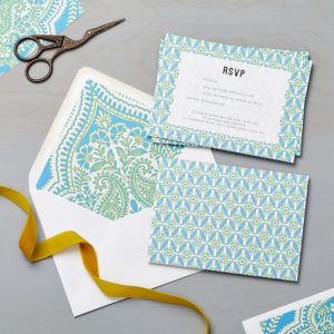 Lucy says I do wedding RSVP mandala blue