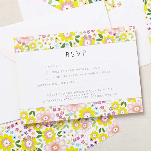 Lucy says I do wedding RSVP ruby summer
