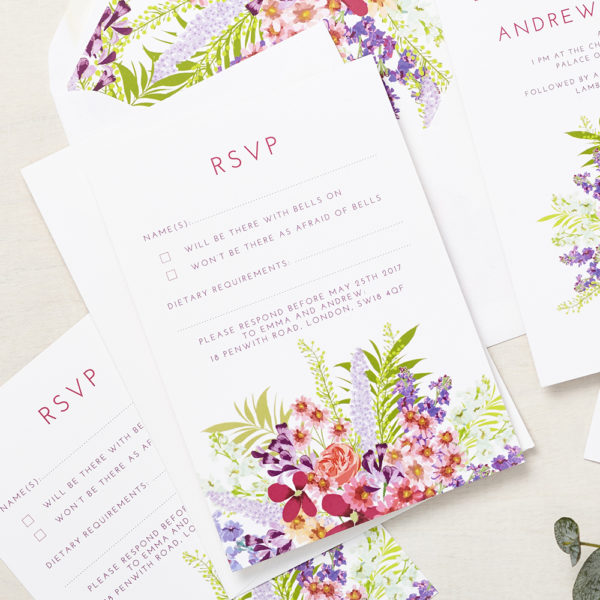 Lucy says I do wedding RSVP secret garden