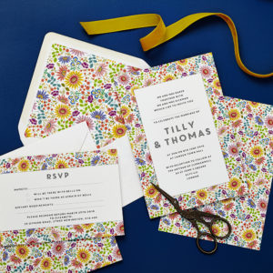 Lucy says I do wedding invitation_bright flowers