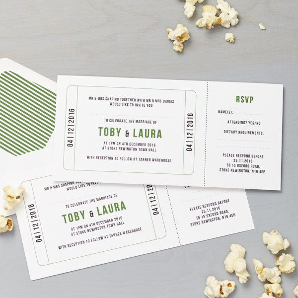 Lucy says I do wedding invitation_cinema green