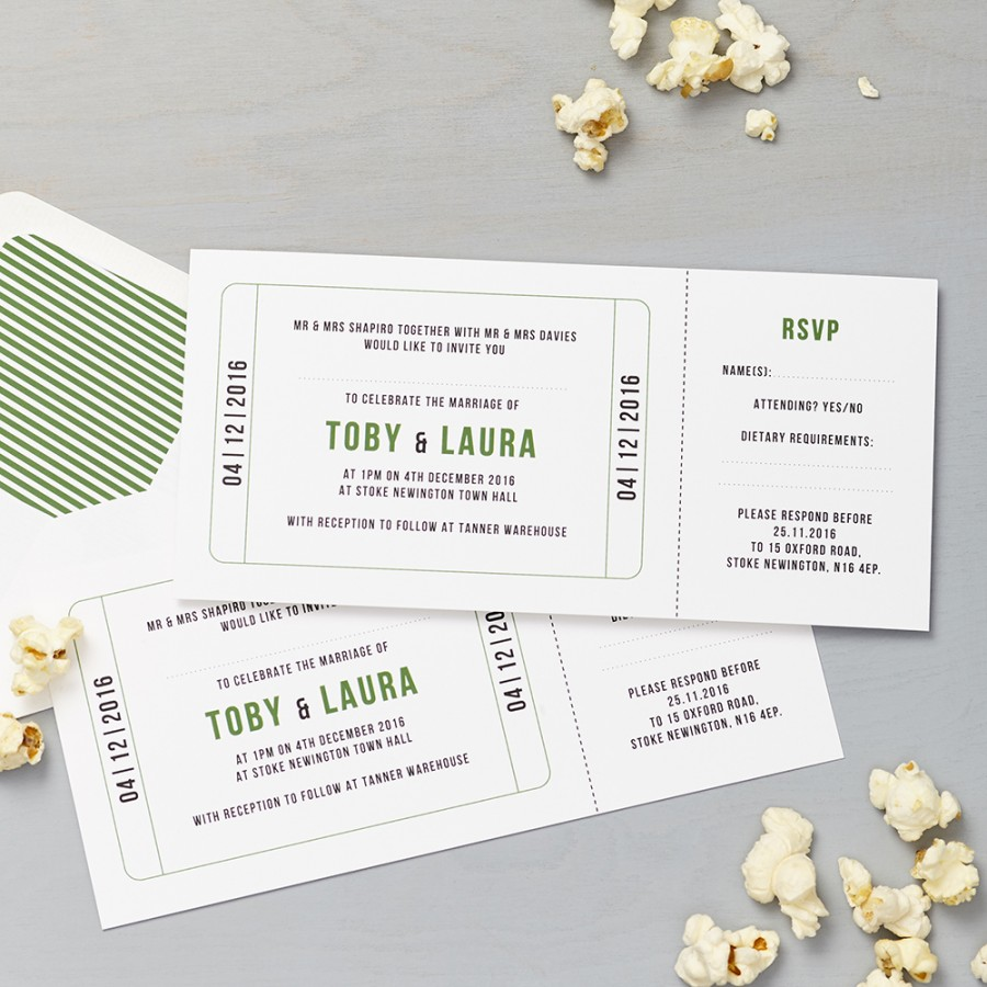 Cinema Green Invitation plus RSVP | Lucy Says I Do