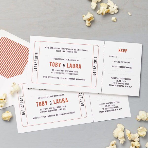 Lucy says I do wedding invitation_cinema red