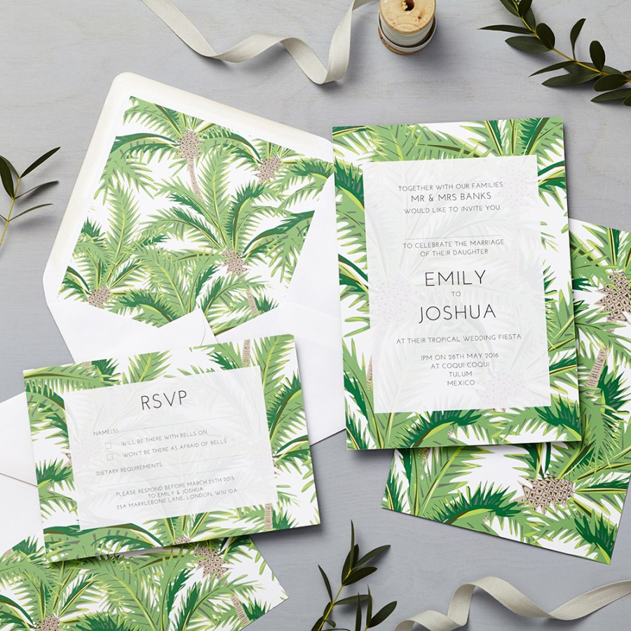 Tropical invitation lucy says i do for Tropical wedding invitations