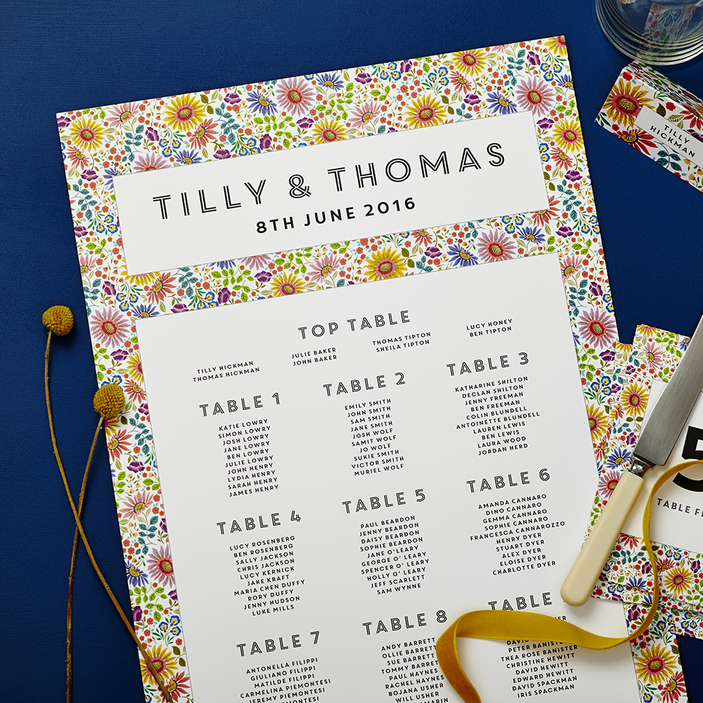 Lucy says I do bright flowers wedding seating plan