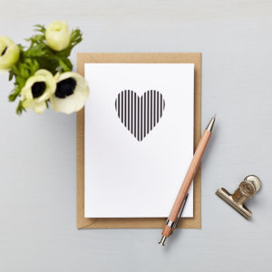 Lucy says I do greetings cards_love card_small heart vertical stripes