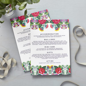 Lucy says I do floral folk wedding information cards016