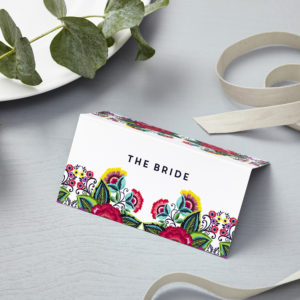Lucy says I do floral folk wedding place card012