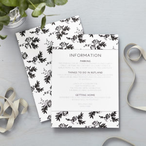 Lucy says I do flowers shadows wedding information cards015