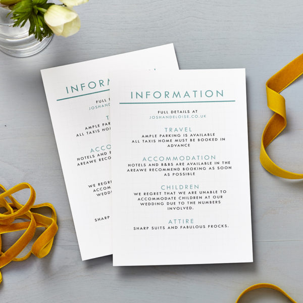 Lucy says I do retro school seafoam blue wedding information cards