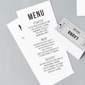 Lucy says I do wedding stationery menu cinema green