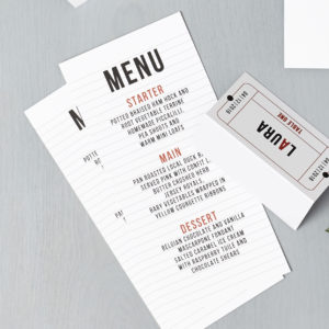 Lucy says I do wedding stationery menu cinema red