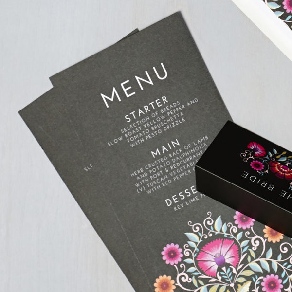 Lucy says I do wedding stationery menu