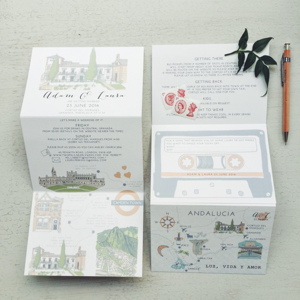 bespoke stationery hand illustrated spanish wedding granada cortijo del marques
