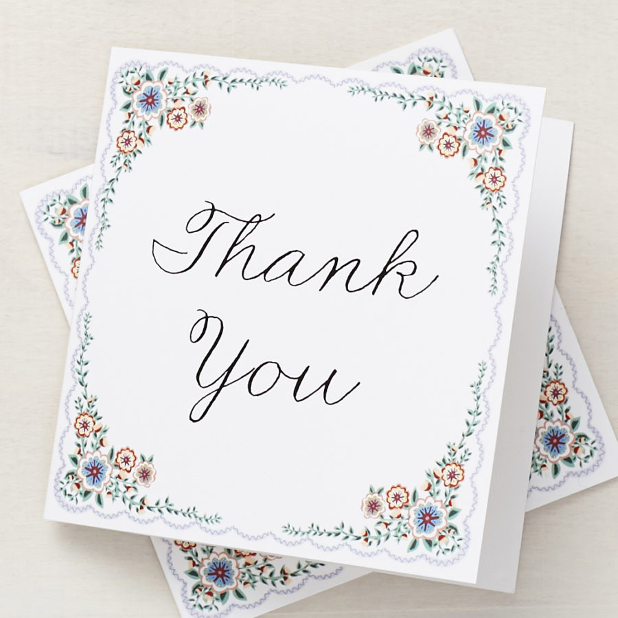 english summer garden personalised thank you cards