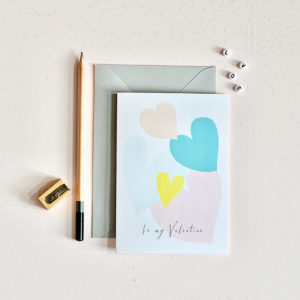 pastel heart be my valentine card
