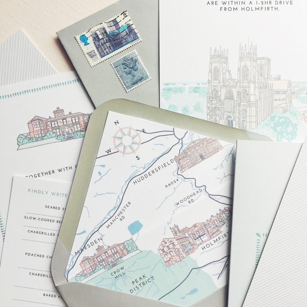 Dounia and Tom yorkshire wedding venue save the date illustration york envelope liner