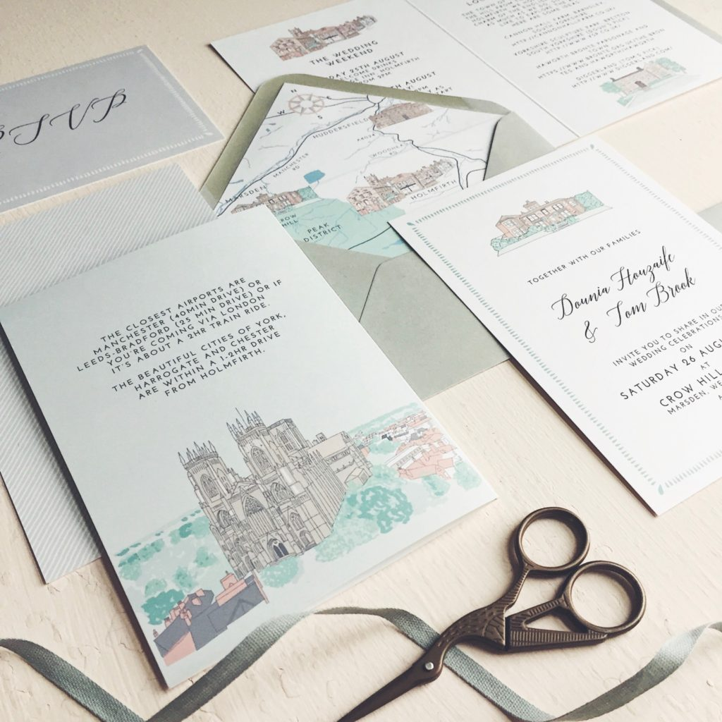 Dounia and Tom yorkshire wedding venue illustration york