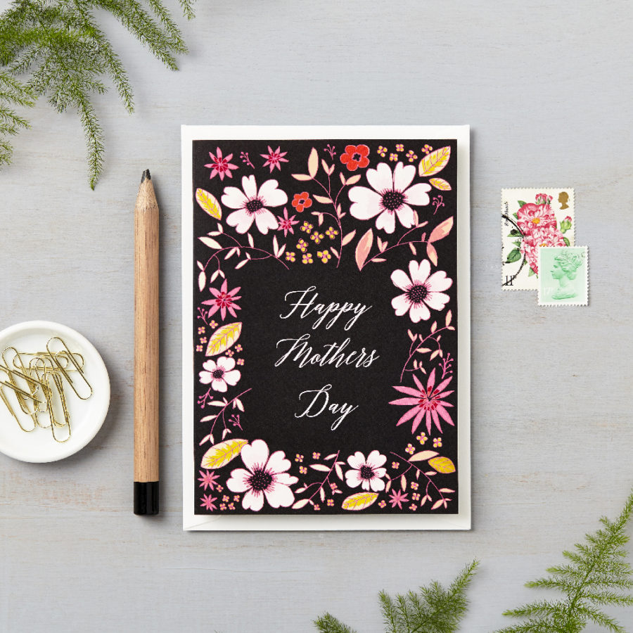 pink flowers on dark happy mothers day card lucy says i do