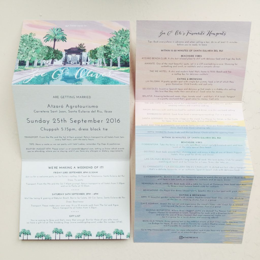 hand drawn bespoke wedding stationery ibiza wedding atzaro