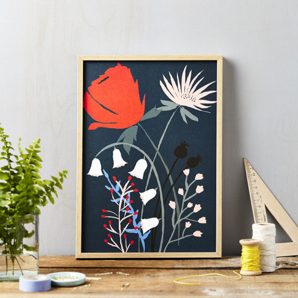 LSID art print red flower on blue framed